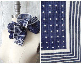 Vintage 70s Navy Blue & White Polka Dot and Striped Sheer Long Skinny Polyester Scarf // Made in Japan