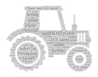 Tractor Personalised, Word Art Print, Fathers Day, Birthday, Gift for Dad, Farmer, Print