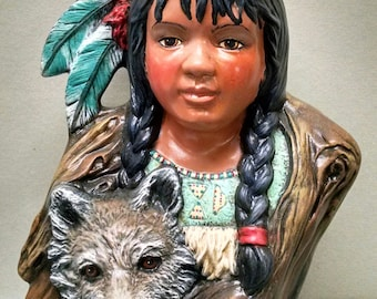 SALELittle Dove and Wolf--Native American Indian Figurine--Heirloom Quality--Hand-painted Ceramic--Home Decor--Native American Art
