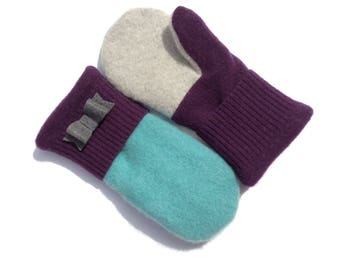 Felted Wool Mittens, Purple, READY TO SHIP, Teal and Plum,  Sweater Mittens, Fleece- Lined Mittens, Eco Gift, Gift for Her