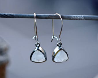 Moonstone Earrings, Moonstone Jewelry, Rainbow Moonstone, White Dangly Earrings, Gifts for Girlfriend, Gift for Mom, Color Changing Jewelry
