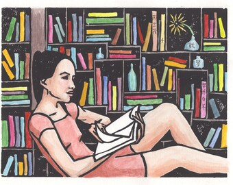 Linocut print reading surrounded by books