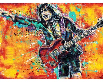 Angus Young - Let There Be Rock - 18 x 12 Signed HIgh Quality Art Print