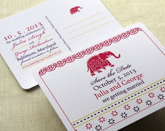 Indian Elephant Save the Date Postcard - Decorated Block Print - Color and Font Options