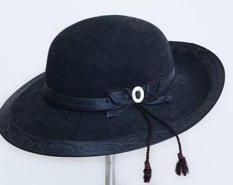 1950s Peruvian Riding Hat Black Wool Felt Manchester English Styled Wide Brim Hat