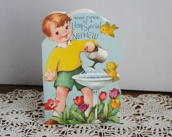 Vintage Rust Craft Easter Card for Nephew Used Flocked Shirt and Birds