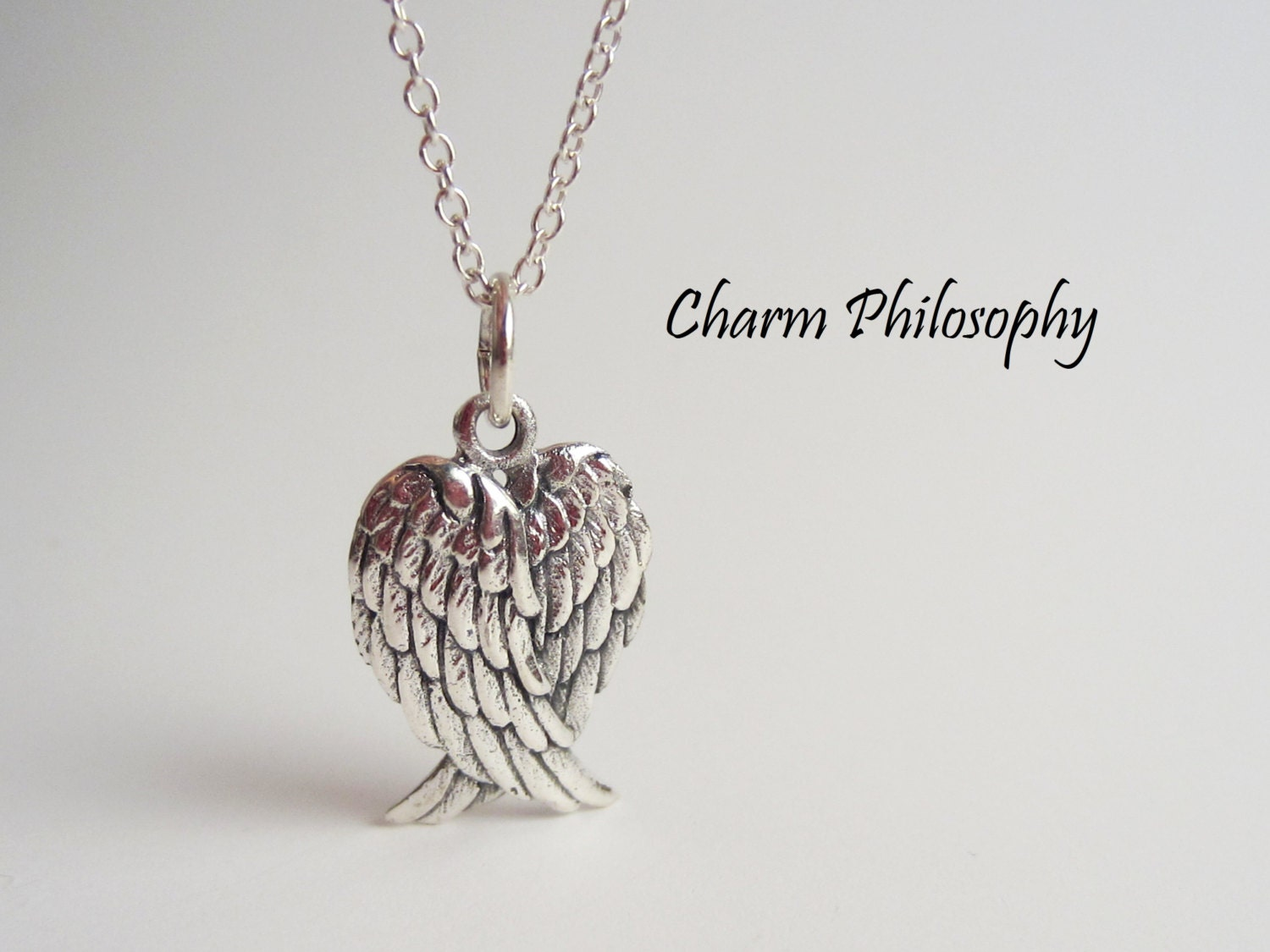 message with angel pin personalised wing necklace large wings