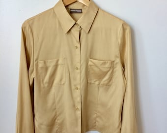 Golden Silk Button Up Long Sleeve Crop Top Size S/M