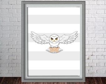 Printable Harry Potter Hedwig Wall Art Print - 16x20, 8x10 and 11x14 Harry Potter Hedwig- Instant Download - Can Customize