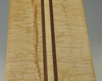 Highly Figured Curly Maple Cutting Board with Walnut and Curly Maple Accent Strips