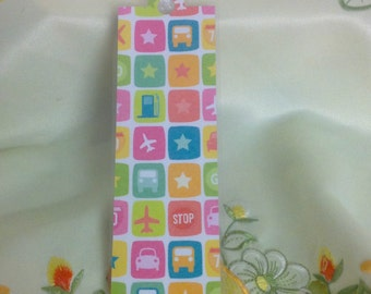 Cars and Planes Bookmark , white Ribbon , Laminated , Books , Page keeper , Reading , Waterproof