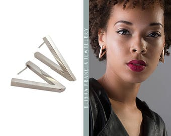 VICTORY Sterling Silver Contemporary Earrings | Silver Drop Earrings | Statement Earrings | Minimalist Silver Earrings | Geometric Earrings