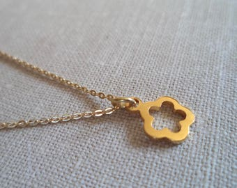 Tiny gold flower charm necklace, delicate dainty necklace