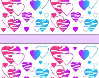 RAINBOW ZEBRA HEART Wallpaper Border Decals Animal Print Wall Art Teen Girl  Safari Bedroom Baby Nursery