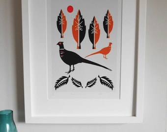 Autumn Pheasants, Contemporary, Bird Giclee Print