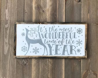 It's the most Wonderful time of the Year wood sign, Reindeer Sign, Rustic Christmas sign, framed farmhouse Christmas sign