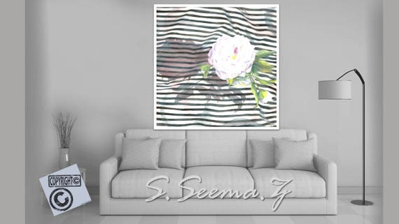PEONY FLORAL- Striped, Flower, Living Room Art,White, Ethnic Wall Art, White, Watercolor, Dining Room Art, Black and White, Seema Z