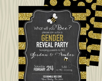 Gender Reveal or Baby Shower Bee Invitation - Chalkboard and Gold Glitter
