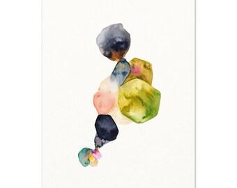 Abstract Watercolor Art Print / Living Room Wall Art / Modern Art / Mid Century Decor / Modern Painting / Abstract Wall Art / Masculine Art