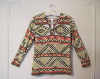 mod aztec, 1970s ZigZag Tribal Long Sleeve Shirt - bone, brown, green, coral, yellow -  size medium