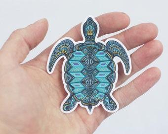 Sea Turtle Sticker, Hand Drawn Turtle Laptop Sticker, Trippy Sticker Bumper Sticker, Laptop Sticker, Beach Sticker, Ocean Laptop Sticker,