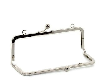 10 X 3.5 Inch Nickel Purse Frame With Loops   FREE US SHIPPING