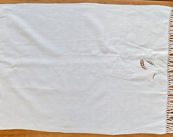 Brand New Vintage Linen Curtain Panel Wedding Gift White Hand embroidery Shabby Chic Home Decor