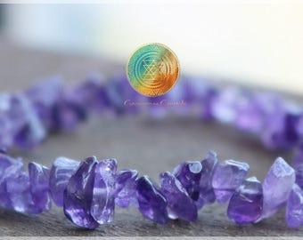 Amethyst Chip Bracelet, Genuine Amethyst Bracelet, Natural Stone , Purple Amethyst Jewelry, Women's Bracelet, Gifts for Women, Reiki Infused