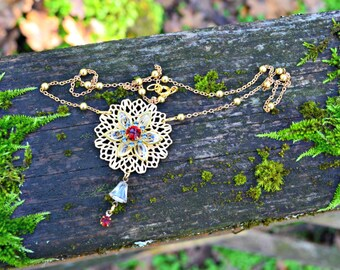 Swarovski Crystal Necklace Vintage Ruby Red and Crystal and Black Diamond Swarovski Crystal Necklace Gold Tone Brass Lace Flower Necklace