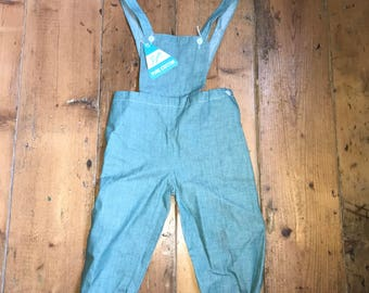 Vintage 1960's baby toddler dungarees romper green unworn with original tags