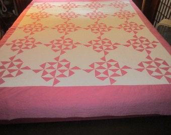 Vintage 1930s/40s Beautiful Pink and White Cotton Shoo Fly Quilt for repair