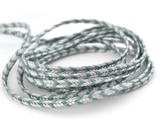 50cm cord flat woven Mint green and silver 3mm