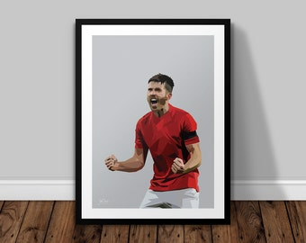Michael Carrick Manchester United Illustrated Poster Print | A6 A5 A4 A3