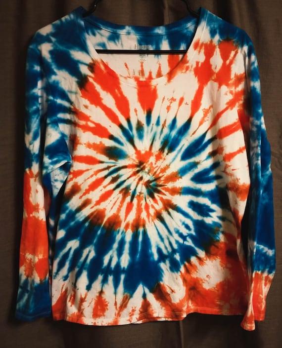 Tie Dye Shirt/Adult T-Shirt/Long Sleeve/ Orange & Blue Spiral/Eco-Friendly Dying
