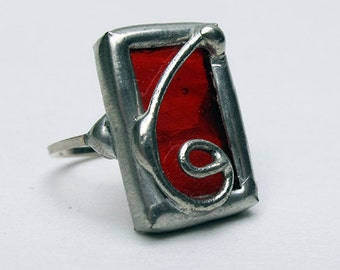 Berry Breeze - Sterling Silver Stained Glass Ring - Size 6.5