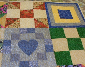 Sampler Block Lap Quilt Throw Wallhanging ready to ship