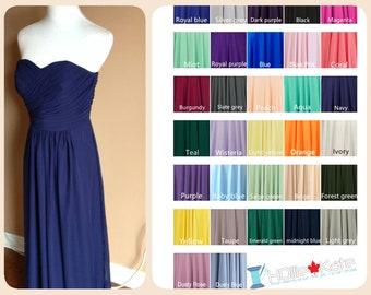 Navy blue bridesmaid dress, navy chiffon dress, long chiffon bridesmaid dress
