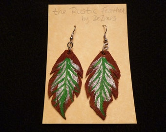 The 'Rustic Feather' Hand cut and Hand painted Suede Leather Dangle Earrings in Silver and Green