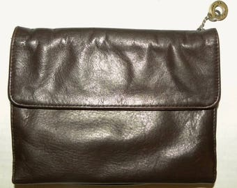 """Vintage Perlina Brown Leather Organizer Luxe Travel Wallet / Clutch Bag Purse POUCH  / 8"""" x 5.5"""" x 1.5"""""""