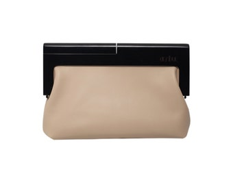 4ce7c9d52f58 Beige leather and wood handbag Wood and leather laptop bag