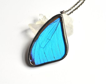 Real Butterfly Jewelry Aqua aura quartz Large Turquoise pendant necklace Blue Morpho butterfly Boho Turquoise necklace silver