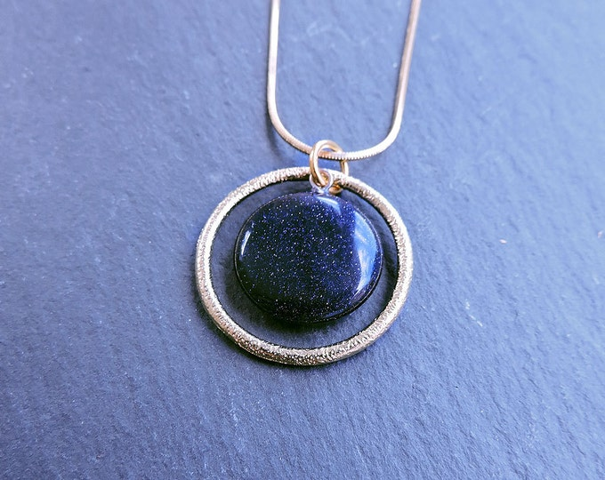 Blue Sandstone & Gold Orbit Pendant Necklace - Dark Midnight Blue Round Coin Pendant with Textured Gold Ring on Gold Snake Chain