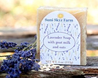Lavender Oatmeal Goat Milk Soap - Lavender Soap - Handcrafted Lavender Soap - Artisan Lavender Soap - All Natural Lavender Oatmeal Soap