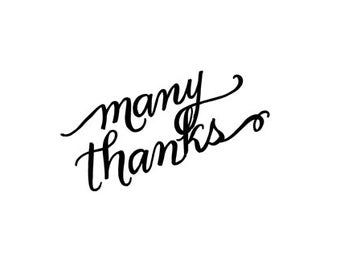 CLEARANCE Many Thanks Calligraphy Rubber Stamp