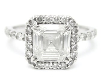 2.20CTW ASSCHER CUT prong set diamond engagement ring 14k white gold
