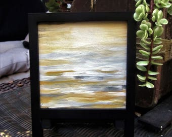 Mini abstract canvas | framed abstract art | abstract small art | little painting small canvas art | framed painting | gray mustard art