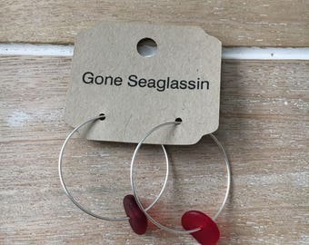 Red Sea glass hoop earrings