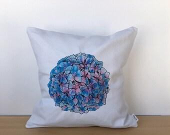 Throw pillow, flower pillow, flower pillow cover, floral decor, original artwork, hand painted pilow, canvas throw pillow, housewarming gift