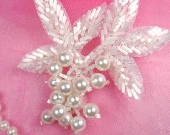 "FS03 White Satin Pearl Cluster Beaded Applique 3.5"" (FS03-WHP)"