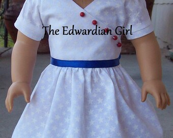 Two of a kind patriotic red bead, white, and blue 1930's era for 18 inch play dolls such as American Girl, Springfield, OG. Made in USA